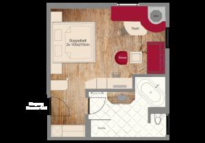 Zimmerplan für Deluxe Zimmer 202 Bad Wörishofen Hotel Adler